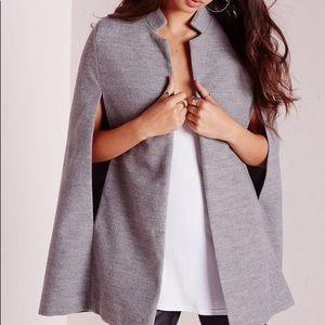 Missguided Gray Wool Cape Blazer